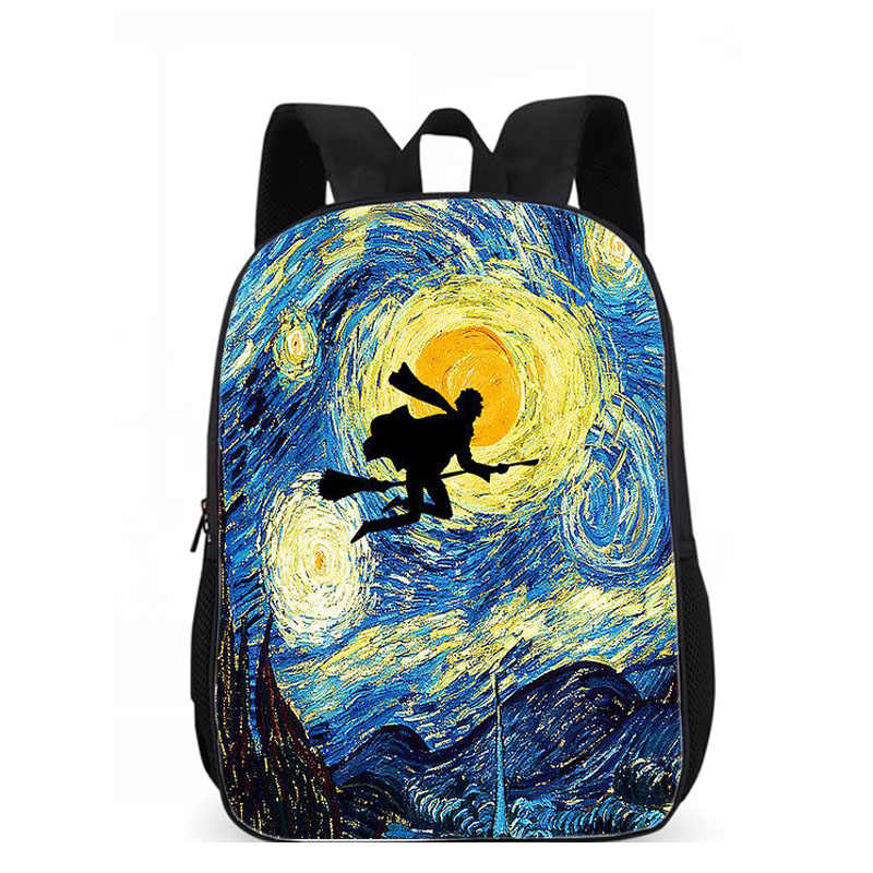 Luobiwang Van Gogh Kucing Percetakan Ransel untuk Remaja Anak Laki-laki dan Perempuan Kreatif Perjalanan Ransel Siswa Sekolahnya untuk Anak Laki-laki Infantil