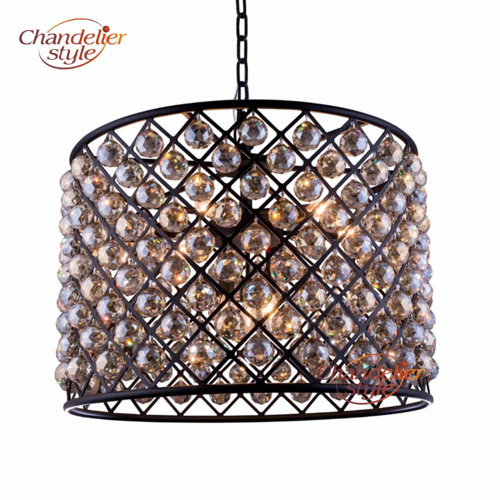 Vintage Cognac Crystal Chandelier Lighting Fixture Modern Cristal Chandeliers Hanging Light for Living Dining Room Decoration