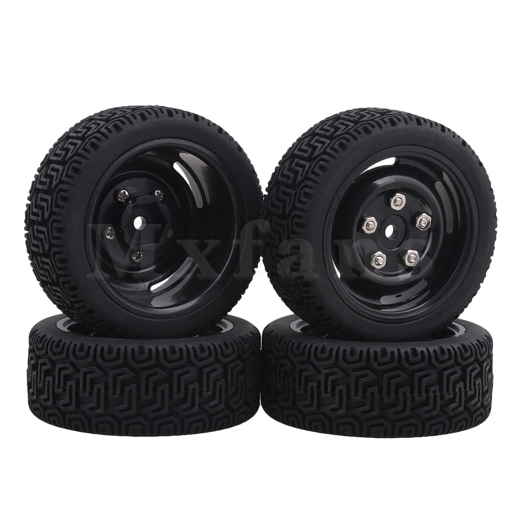 Mxfans Black Plastic Wheel Rims + L Shape Rubber Tyres for RC 1:10 On Road Racing Car Pack of 4 mxfans rc 1 10 2 2 crawler car inflatable tires black alloy beadlock pack of 4