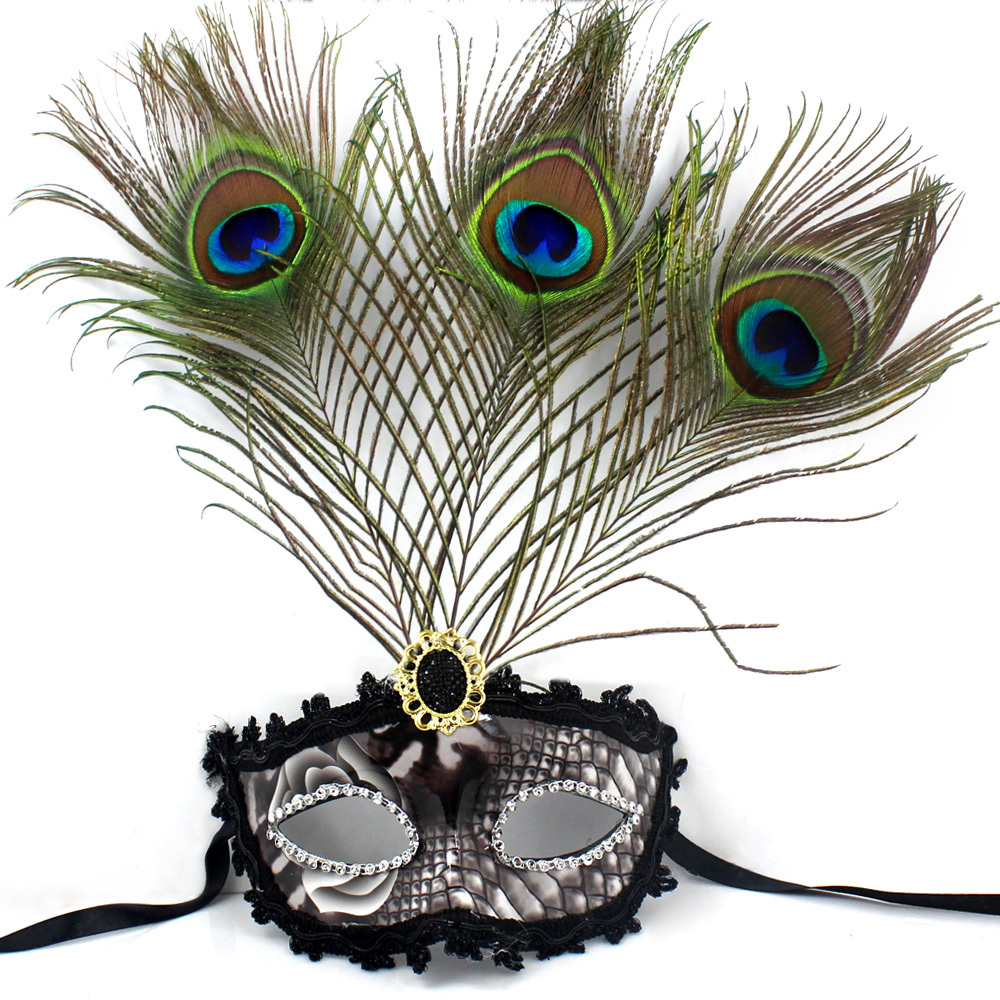 beautiful peacock feather masquerade mask multi color half face