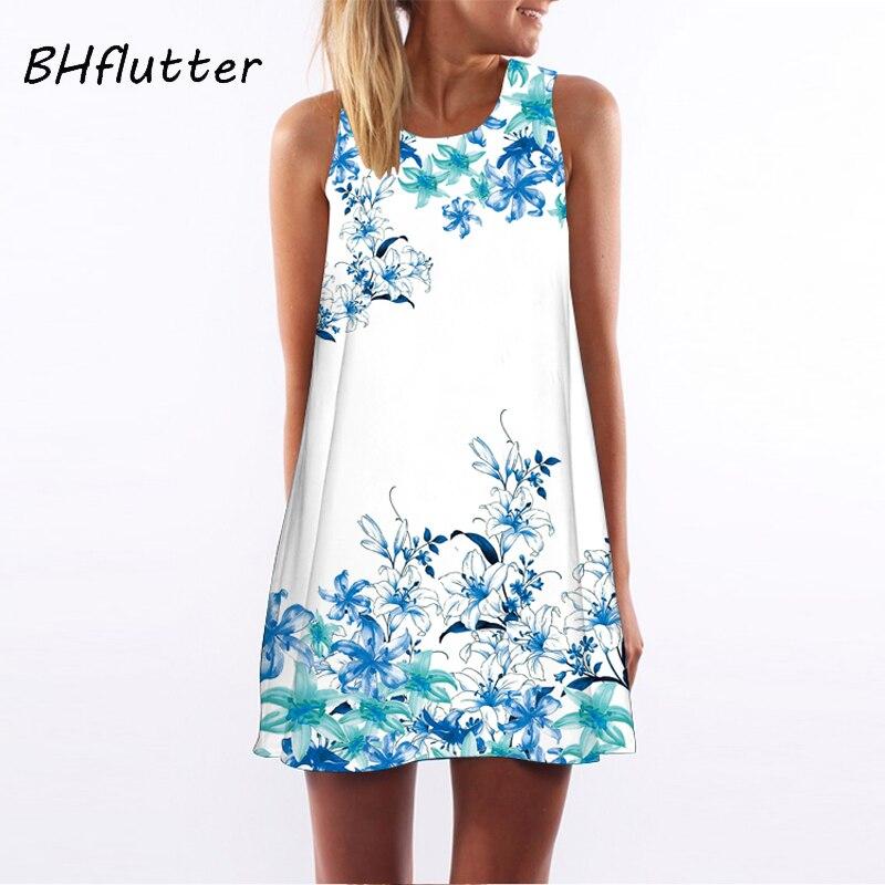 BHflutter Summer Dress Women New 2018 Fashion Red Lips Print Cute Party Dress Sleeveless O neck