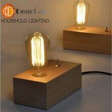 Старинные деревенский эдисон стол светильники настольная лампа для украшения, E27 / E26 эдисон ночники деревянный стол для спальни