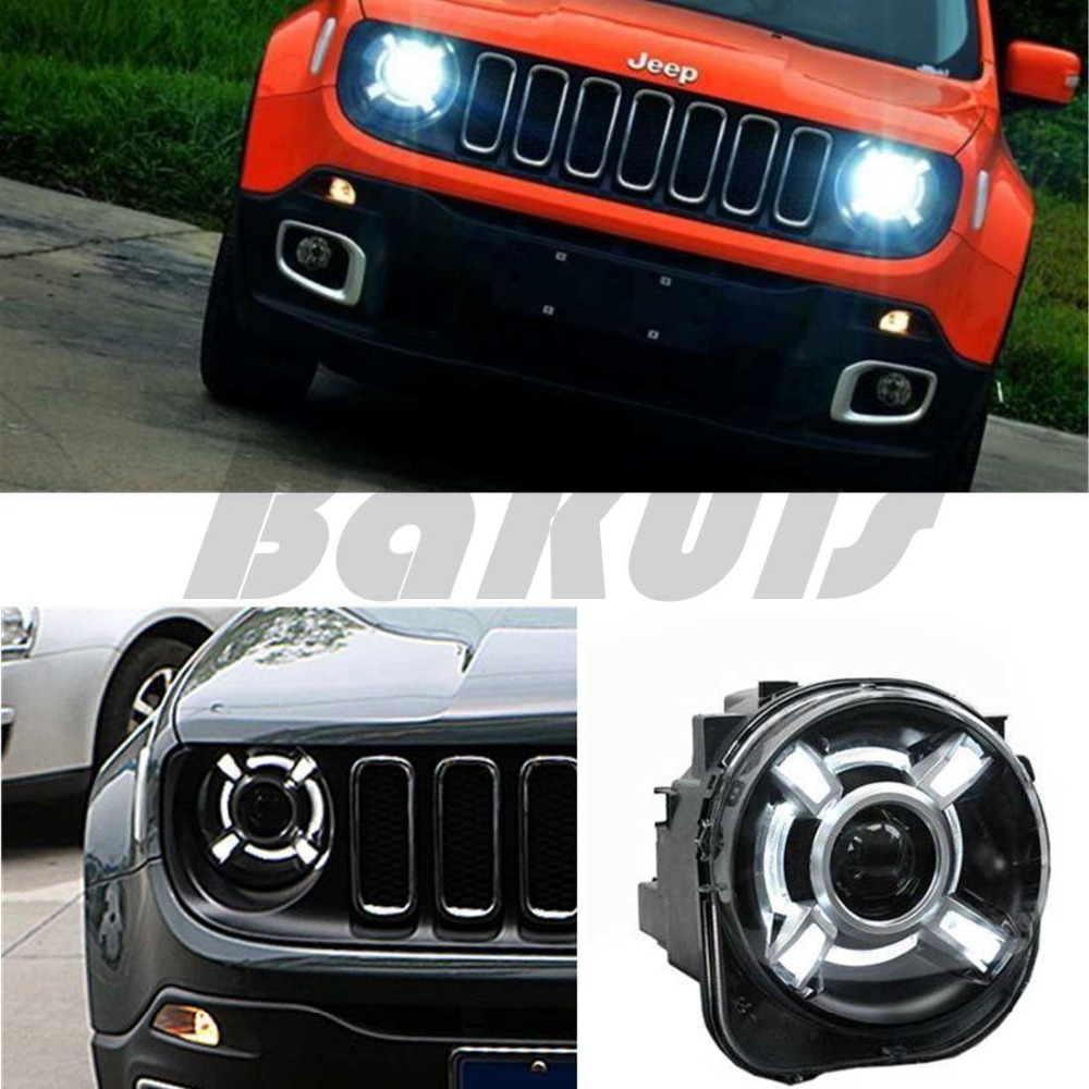 2015-2017 For Jeep Renegade HID LED Headlight with DRL and Bi-xenon Projector free shipping h4 car headlights for 2015 2017 jeep renegade hid headlight with drl and bi xenon projector