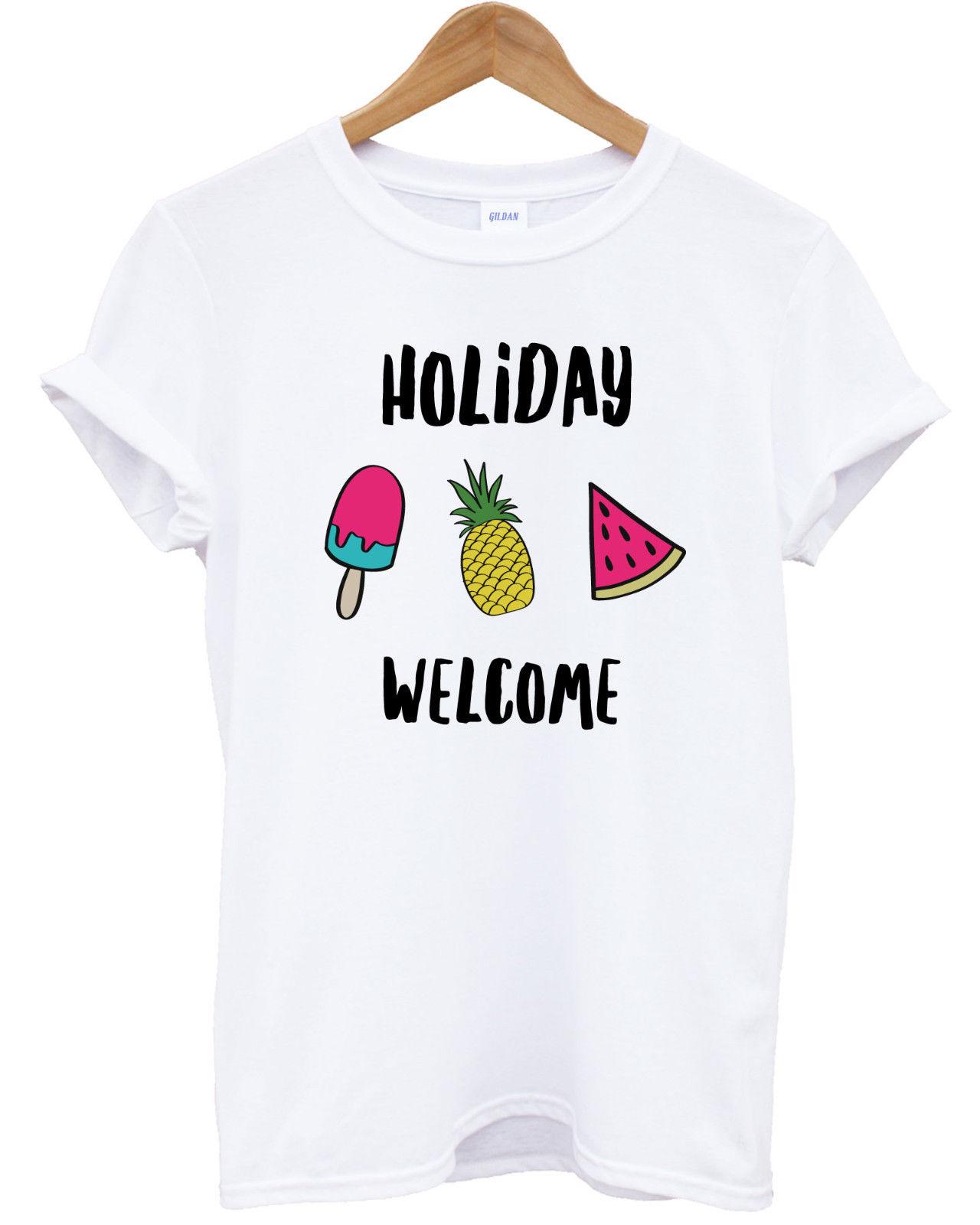 Design t shirt for holiday - Summer Holiday T Shirt Top Fruit Watermelon Fruits Ice Vegan Vacation Funny Summer Women Short