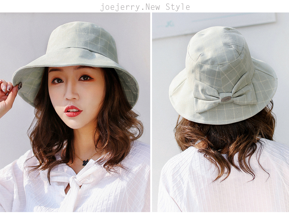 joejerry Plaid Bucket Hat Elegant Cloth Sun Hat Women Summer Hats ... eda5434fb988