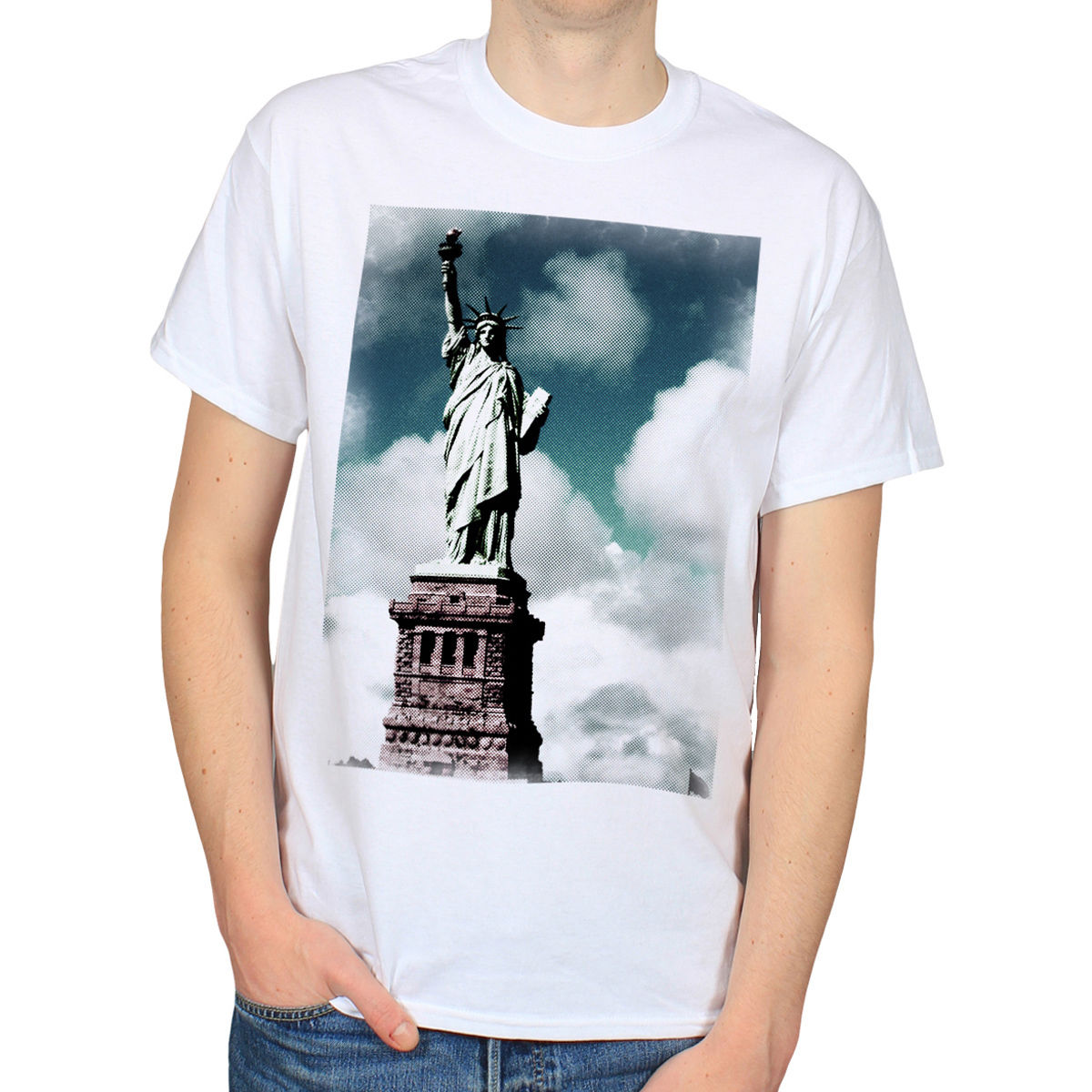 STATUE OF LIBERTY NEW YORK CITY NYC AMERICA USA ART MENS WHITE T-SHIRT TEE [T84] Male Best Selling T Shirts image