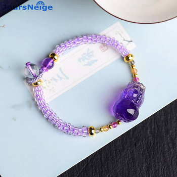 Wholesale Natural Crystal Bracelets Beads Weave Purple Crystal PiXiu Brave Troops for Women Girl Gifts Crystal Trendy Jewelry