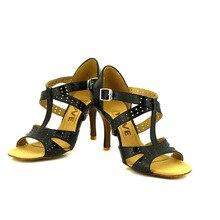 YOVE Dance Shoes Cow Split Women's Latin/ Salsa Dance Shoes 3.5″ Slim High Heel w121-5