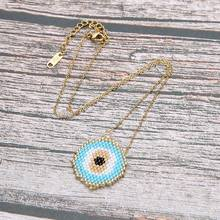 Trendy Evils Eye Choker Necklace Women Miyuki Glass Beads Handmade Charm Necklaces & Pendants Female Stainless Steel Jewelry