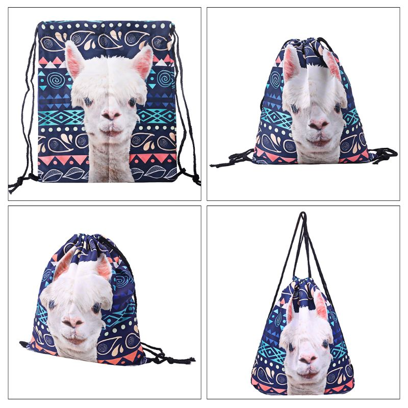 Polyester Drawstring Backpack Girls Cinch Sack 3D Printing Llama Swim Kids Shoes Party Bag Cute Gift