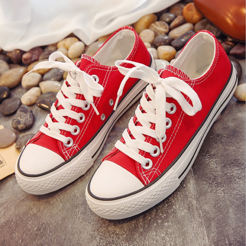 High Quality Women Canvas Shoes Classic Fashion Brand Casual Woman shoes Lace Up Round Toe Rubber Lovers shoes Size 35-44 2017 fashion women shoes woman flats high quality casual comfortable pointed toe rubber women flat shoes plus size 35 42 s097