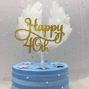 Золотой/Серебряный/черный продвинутый блеск Happy 30 40 50 60th торт Топпер 50th День Рождения украшения аксессуары для торта принадлежности