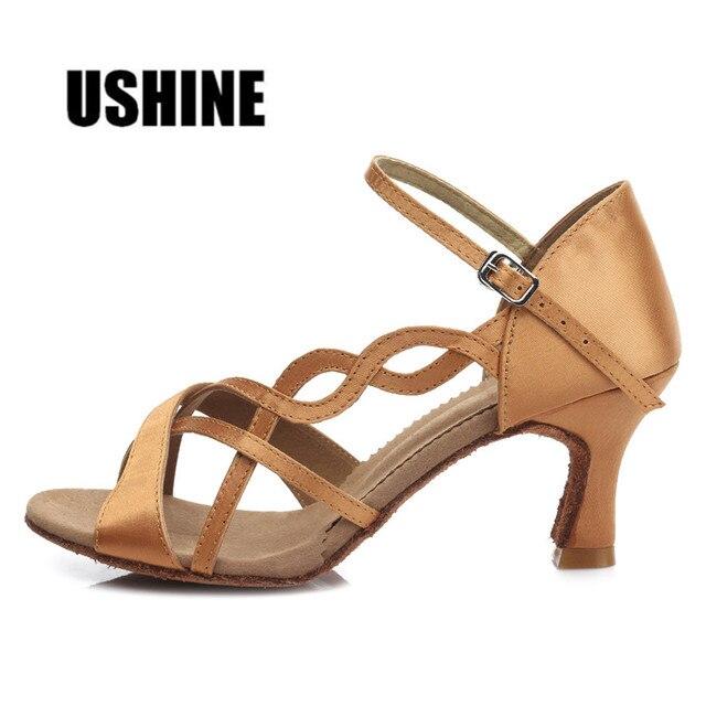 6b0a953c7 TYB26 Brown Heel 7cm/5cm Salsa Dance Shoes Tango Latin Dance Shoes Satin  Professional 7cm Girls Women