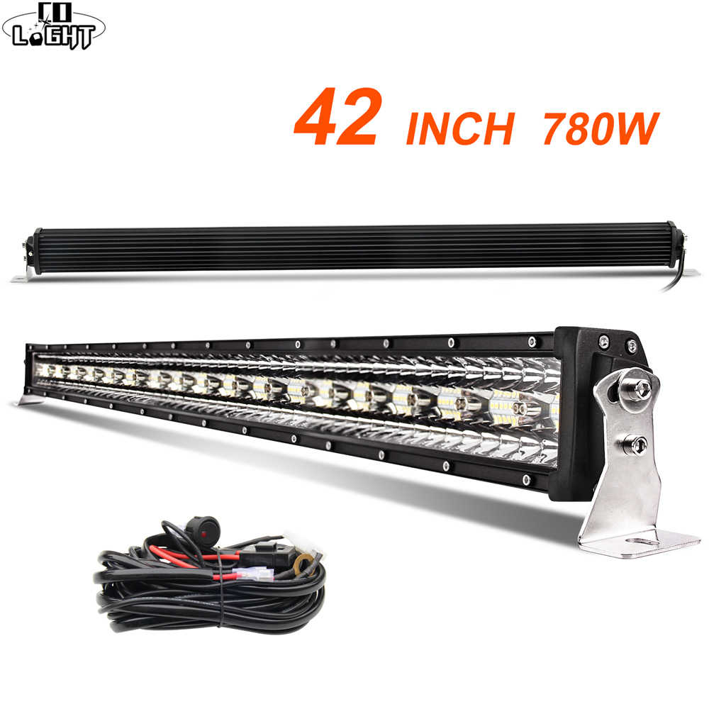 CO LIGHT 42 inch 12D Straight LED Light Bar 780W 3-Rows Spot Flood Combo Beam Led Bar Offroad for UAZ 4x4 SUV ATV Truck Tractors