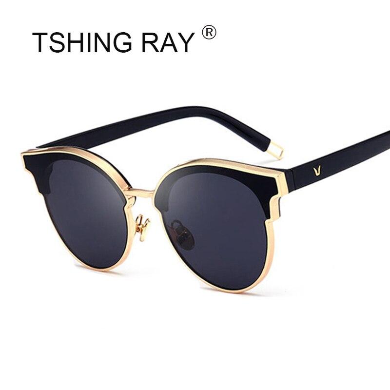 3c6eee4db7792 TSHING RAY 2018 de Moda de Nova Marca Designer Espelho Cateye Olho de Gato  Óculos De