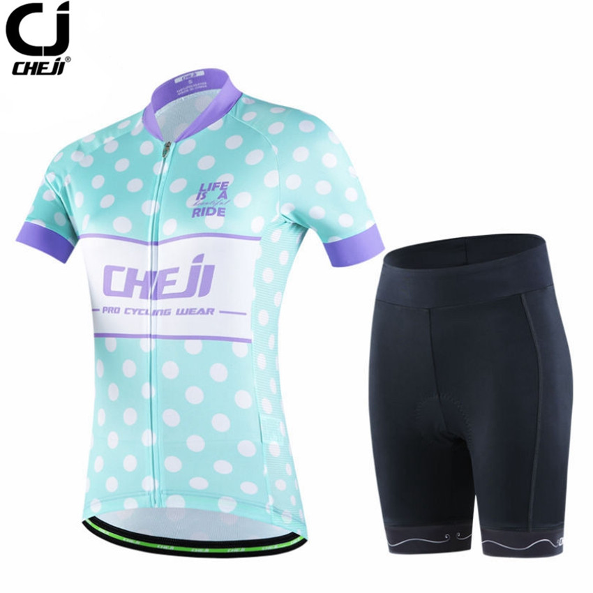 CheJi Women Short Sleeve Cycling Set Bike Team Cycling Jersey/Cycling Clothing Outdoor Sportswear Bicycle Wear Clothes CC1543 pirate skull cycling clothing cycling wear cycling jersey short sleeve clothing