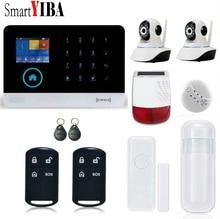 SmartYIBA RFID GSM WIFI GPRS Intruder Alarm Kits Waterproof Outdoor Solar Siren 2pcs Security Camera Door