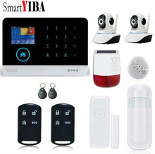 SmartYIBA RFID GSM WIFI GPRS Intruder Alarm Kits+Waterproof Outdoor Solar Siren+2pcs Security Camera Door/Motion/Smoke Alarm