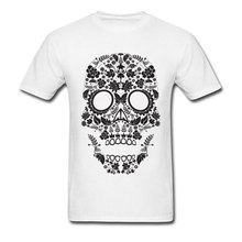 White Skull Mens Tops & Tees Funny Design Punk Tshirts Short Sleeve 100% Cotton Crew Neck T Shirts Normal Tee Men