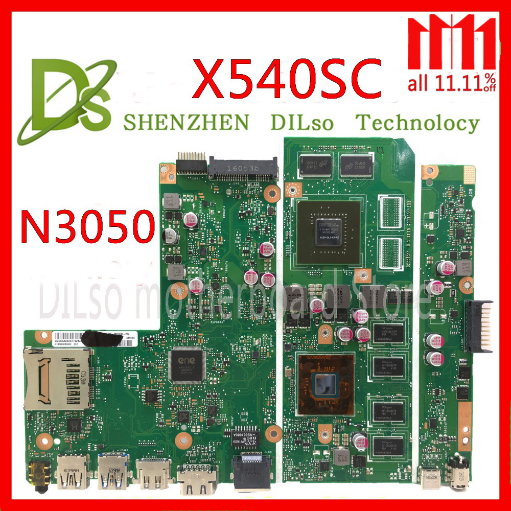 KEFU X540SC mainboard For ASUS X540SC X540S laptop motherboard N3050 CPU 4G/2G memory with graphics card 100% Test original for asus k501ux k501ub laptop motherboard k501ux mainboard rev2 0 i5 cpu with graphics card 100