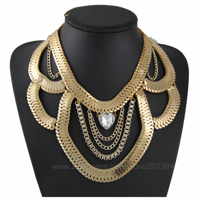 Excellent CirGen Fashion Women Chunky Gold Color Snake Metal Chain Crystal  WP42