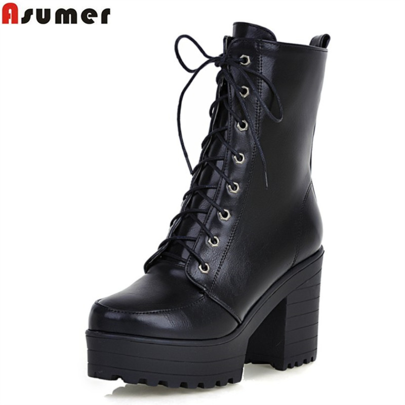 ФОТО fashion 2016 new hot sale classic lace up med calf boots thick high heels round toe platform pu soft leather women boots