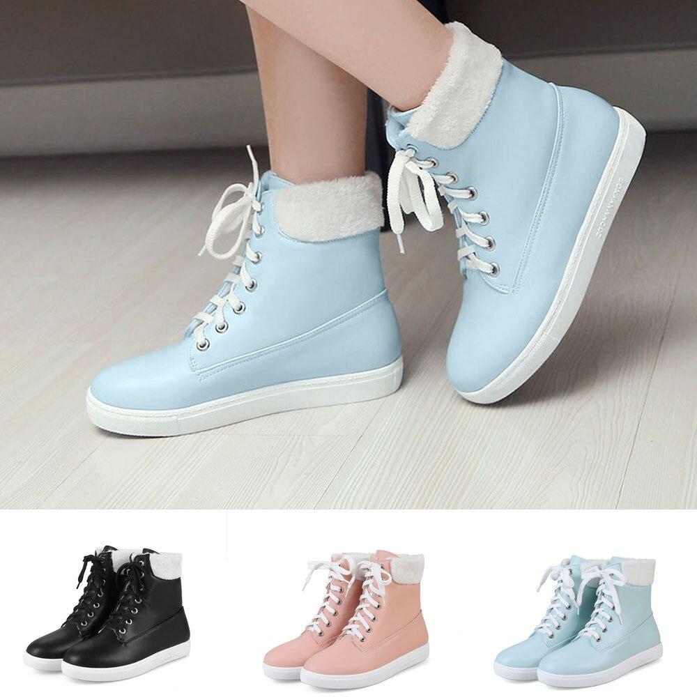 Encaje Negro Invierno Las Otoño Corta Zapatos Planos Chaussures azul Señoras Mantener Caliente De 2018 rosado G7 Mujer Ocio Mujeres Bota E PwwUYdq
