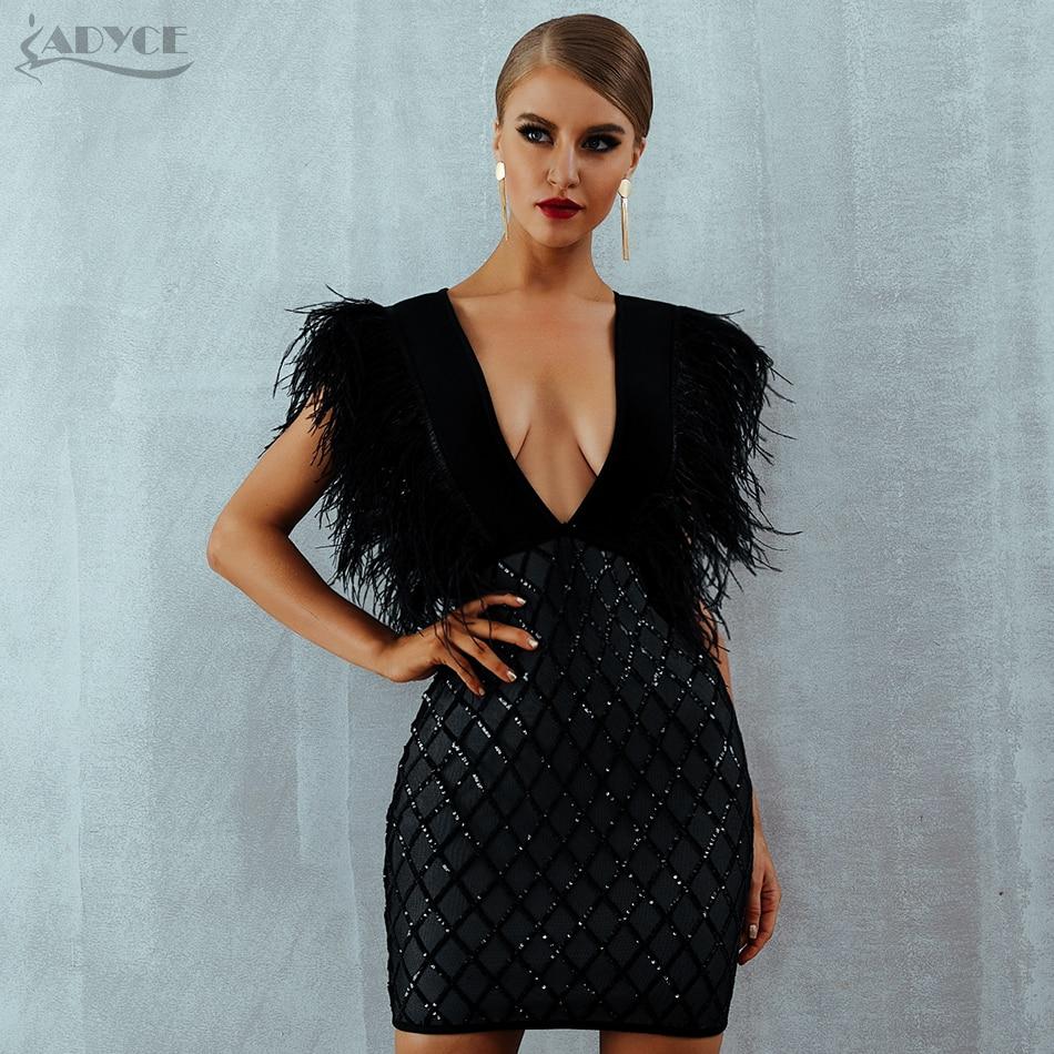 ADYCE New Summer Feather Runway Bandage Dress Vestido Elegant Sexy Deep V-Neck Sleeveless Tank Celebrity Party Dress Clubwears