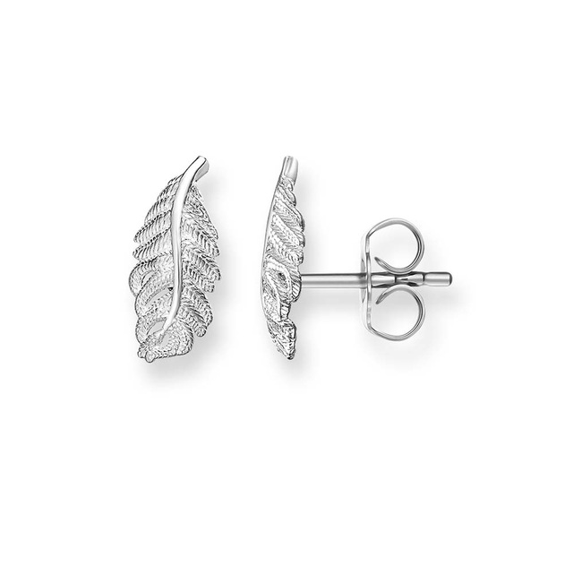 Feathers stud earrings Silver Mini Feather Stud Earrings, 2018 Fashion Thomas Style Ear Stud  Earring Jewelry Feather Earings Gift For Women Mother