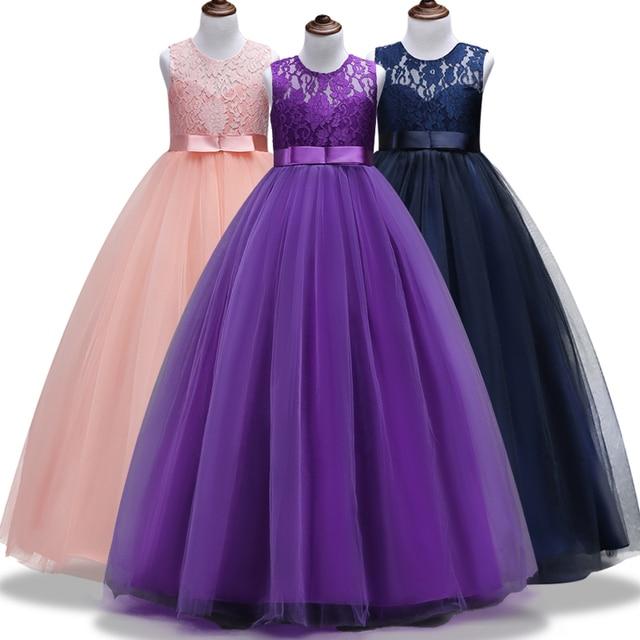 Dentelle Patchwork Filles Robes Princesse Enfant Bébé Enfants Vêtements Adolescente Robe 4-14 Ans D'anniversaire Longue Vêtements