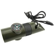 Набор для выживания 7 в 1 компас термометр светодиодный многофункциональный свисток выживания на открытом воздухе аварийный Кемпинг Туризм спасательные инструменты