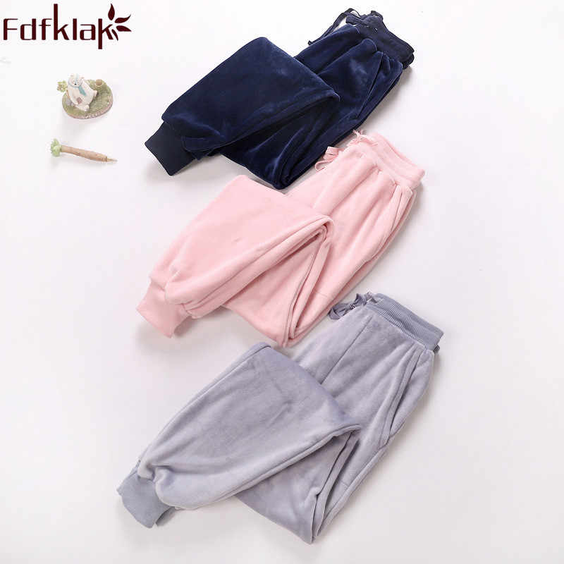 Fdfklak 2018 New Home Pants For Women Winter Flannel Pyjama Trousers Women Pajama Pants Lounge Wear Ladies Sleeping Pants M-XXL