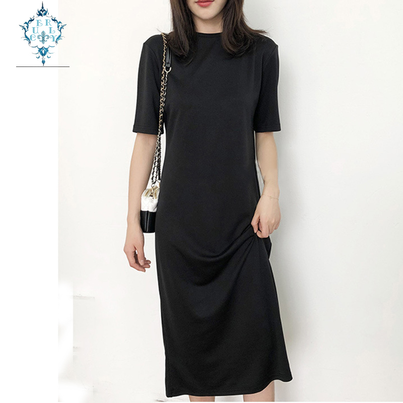 CUERLY 2019 Summer maxi dress Womens Modal office Dresses Long Round Neck Short Sleeve Straight Simple long T-shirt vestidos