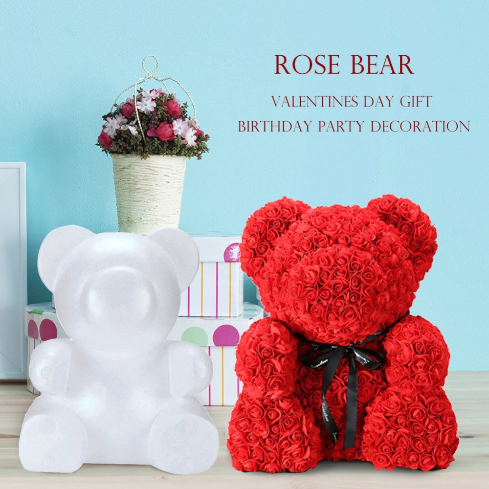 25cm DIY Rose Bear Toys PE Foam Artificial Flowers Rose Bear Valentines Day Gift Handmade Animal Bear With Dried Flowers