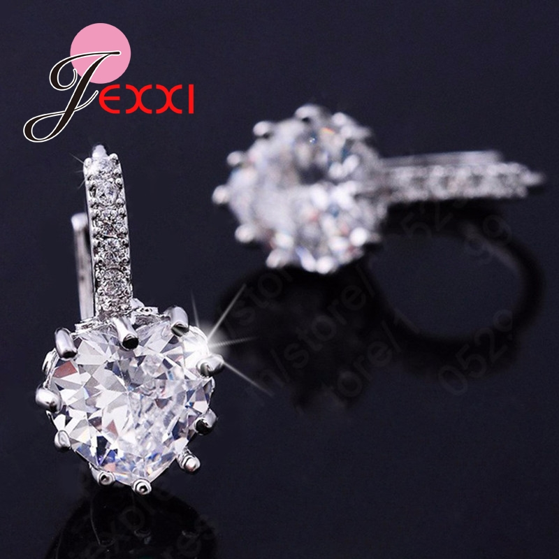 JEXXI Luxury Colorful Heart Band Real Pure 925 Sterling Silver Jewelry Cubic Zirconia Stone Earrings Fashion Women Favourites