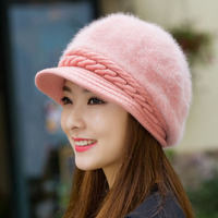 Softfox Women Beret Hat Knitted Wool Beret Natural Rabbit Fur Hat Solid Colors Winter Casual Hat