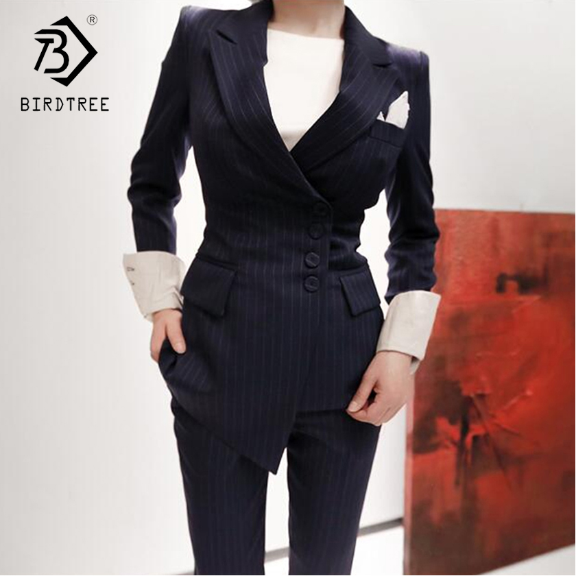 2018 Spring New Arrival Fashion Women Two Piece Sets Striped Blazer Long Sleeve Turn down Collar