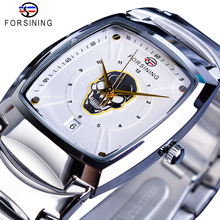 Forsining Mens Quartz Watch White Ghost Skull Date Function Rectangle Dial 3D Stainless Steel Band Wrist Watches For Men Casual