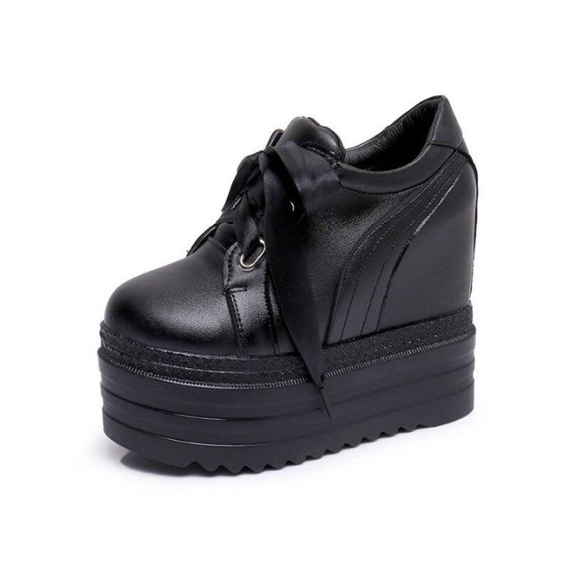 Talons Cm Pour Haute Chaussures De Mode Cuir Lace Hiver 12 Xjrhxjr L'automne Black forme Up Femme Cales white Femmes En Plate Décontractée tqTwWW5nE