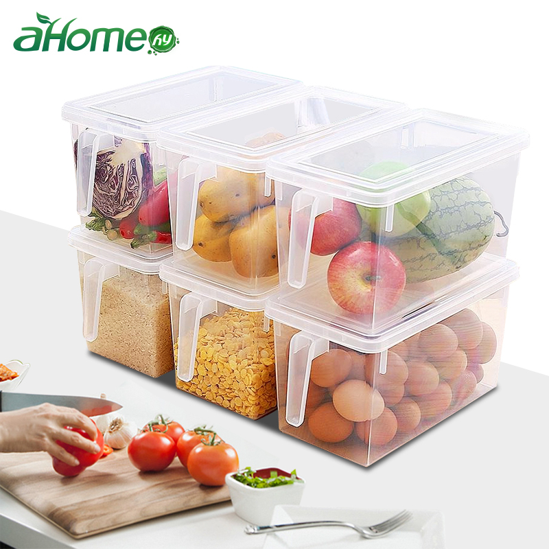 Transparent Plastic Refrigerator Storage Box Kitchen Eggs Fruit Dumplings Foods Container Sealing