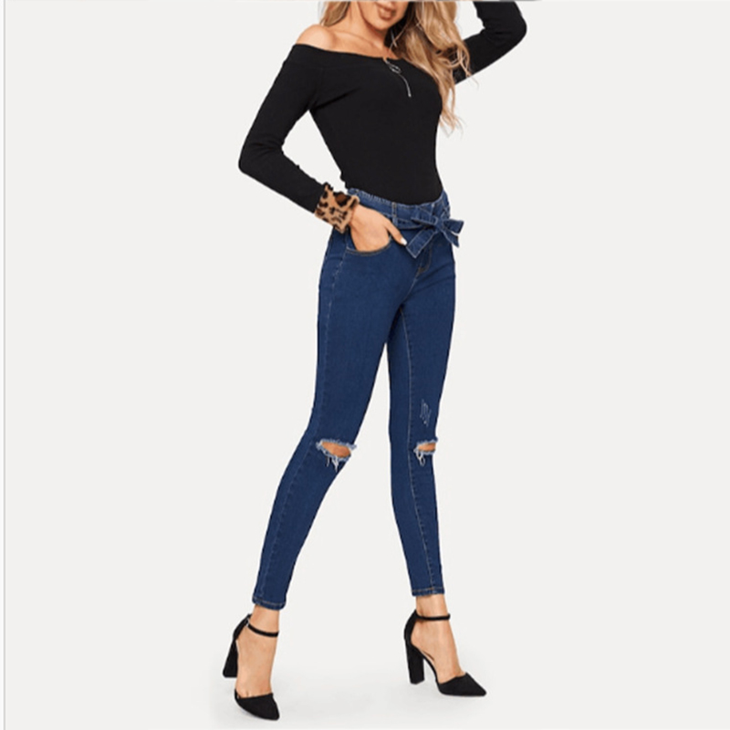 Women's high waist sexy jeans women's street bandage jeans ladies Slim pencil pants tight hole small feet elastic jeans ladies(China)