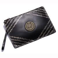 Handmade Men Vegetable Tanned Leather Carvings Letter Bag Money Holder Clutch Purse Pocket Man Clutches Envelope