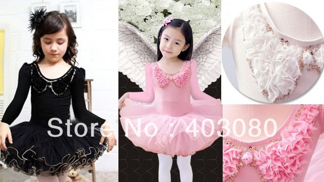 Wholesale & retail 5 - 9 years pink Long sleeve Children ballet skirt,kid tutu dance dress,dancing dress Size:L-4XL