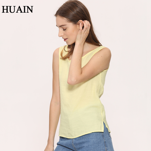 18c63984976 Sleeveless Shirts Women Tank Top Summer 2017 New Fashion Korean O-Neck  Solid Color Cotton Linen Casual Shirt Female Tops Ladies