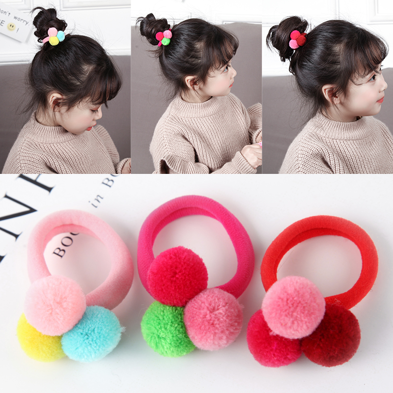 AIKELINA 3PCS Cute 3 Balls Elastics Rubber Bands Hair Holders Bands Gum Fashion Kids Candy   Headwear   Girl's Hair Accessories