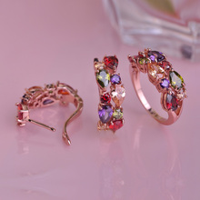 Luxurious Mona Lisa Copper Jewelry Sets Prong Setting Water Drop CZ Zirconia Earrings Ring Set Colorful