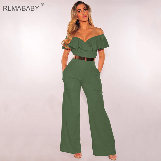 d6472bec565ac RLMABABY Fashion White Off Shoulder Ruffles Long Jumpsuit Sexy Backless  Short Sleeve Bodycon Combinaison Femme Black Jumpsuit