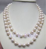 Free Shipping >>>hot selling south sea classic 9 10mm AAA+ white pearl necklace 36 inch 14k clasp