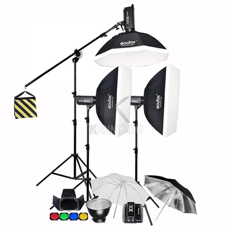 Godox 3x DP400II 400Ws / DP600II 600Ws 2.4G Wirelss X1T Transmitter Studio Flash Strobe Lighting Kit + Softbox & Light Stand Set