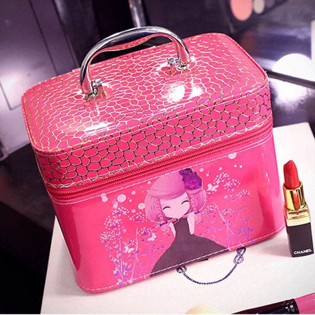 Free shipping Single beautiful girl makeup box Cosmetic Cases Box Lady Cosmetic Bags Travel Bag Toiletries Ladies Bolsas